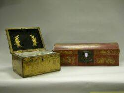 Chinese Export Lacquer Tea Caddy and a Gilt Decorated Red Pigskin Dometop Box