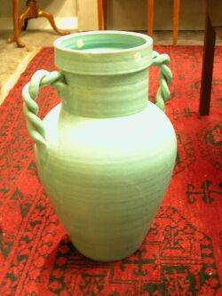 Green Glazed RopeHandled Pottery Floor Vase Japanese Ceramic Umbrella Stand Asian Jar and Two Satsuma Table Lamps