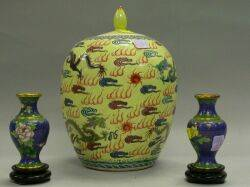 Chinese Enamel Decorated Porcelain Jar and a Pair of Small Cloisonne Vases