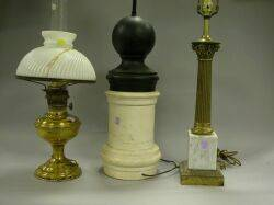 Brass Student Lamp Base Classical Columnar Table Lamp Base and a Black and White Turned Balusterform Lamp Base