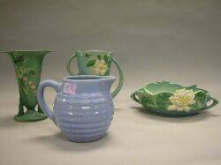 Roseville Pottery White Rose Vase Water Lily Low Bowl Bleeding Heart Vase and a Blue Glazed Pottery Pitcher