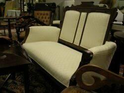 Eastlaketype Upholstered Walnut Settee