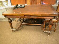 Renaissance Revival Walnut Extension Dining Table with Lion Masques