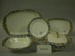 Twentyfive Piece Limoges Gilt Asian Floral and Bird Pattern Porcelain Partial Dinner Service