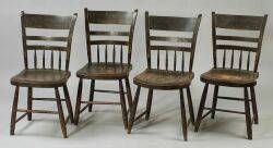 Set of Four Painted and Decorated Windsor Side Chairs and Three Assorted Windsor Side Chairs