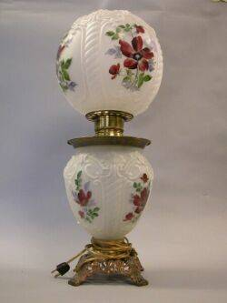 Floral Painted Molded Glass GonewiththeWind Table Lamp