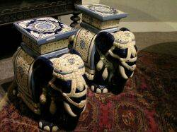 Chinese Glazed Barrelform and Pair of Glazed Pottery Elephant Garden Seats