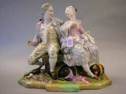 Large Dresden Porcelain Figural Group of a Lady and Gentleman