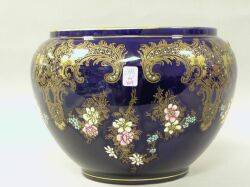 European Gilt and Enamel Decorated Cobalt Blue Glazed Pottery Jardiniere