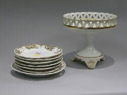 French Porcelain Compote and Set of Six Fruit Plates