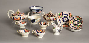 Eleven piece Gaudy Welsh tea service