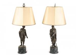 Pair of French Bronze Figural Lamps on Pedestals