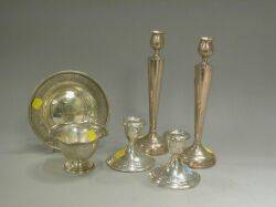 Two Sterling Silver Bowls and Two Pairs of Sterling Silver Candlesticks and Candleholders