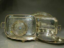 Seven Assorted Silver Plated Serving Trays