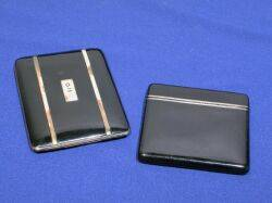 Two Art Deco Sterling Silver Lacquer and 14kt Gold Cigarette Cases