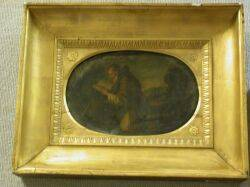 Framed Oval Oil Painting on Slate of an Apostle