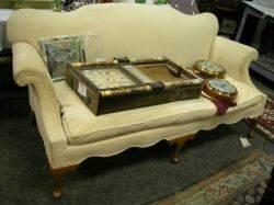 Georgianstyle Upholstered Walnut Settee