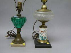 Pressed Green Glass Brass and Marble Kerosene Lamp and a Pressed Glass Painted Porcelain Brass and Marble Kerosene Lamp