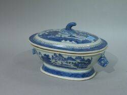 Canton Blue and White Porcelain Covered Tureen