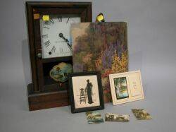 Seth Thomas Mantel Clock and Seven Wallace Nutting Colored Photographs