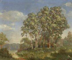 American School 20th Century Springtime Landscape with Birch Trees