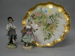 Limoges Handpainted Grapevine Decorated Porcelain Tray and a Pair of German Porcelain Figures