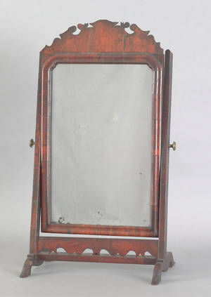 Queen Anne walnut veneer shaving mirror mid 18th c