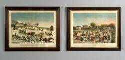 Haskell  Allen publishers Boston 19th Century Lot of Two Lithographs Leaving Brighton Hotel for the Milldam