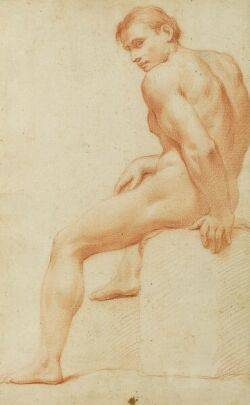 Manner of Carle van Loo French 17051765 Male Nude Study
