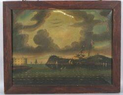 Attributed to Thomas Chambers London New York and Boston 18081866 Threatening Sky Bay of New York