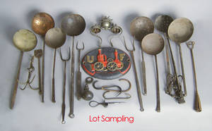 Group of early wrought iron to include ladles