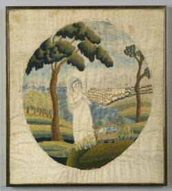 Federal Needlework and Watercolor Picture of Moses in the Bulrushes