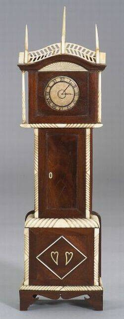 Carved Mahogany and Ivory Tall Case Clock Watch Hutch