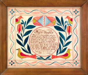 Berks County Pennsylvania ink and watercolor fraktur dated 1823