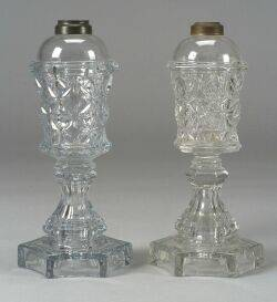 Near Pair of Colorless Pressed Glass Fluid Lamps