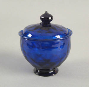 Stiegel type cobalt blown glass sugar 18th c