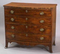 Federal Mahogany Veneer Bowfront Chest of Drawers