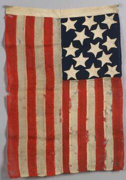 Woven Wool and Appliqued Cotton ThirteenStar American Flag