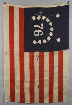 Two Woven Wool and Appliqued Cotton Centennial American Flags