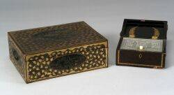 Chinese Export Lacquered Sewing Box and Tea Box