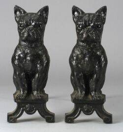 Pair of Cast Iron Boston Bull Terrier Andirons