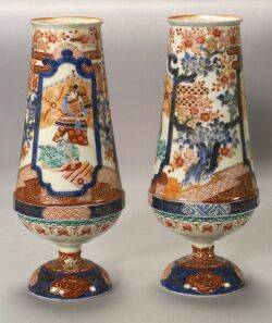 Pair of Japanese Kutani Palette Porcelain Vases