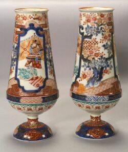 Pair of Japanese Kutani Palette Porcelain Vases