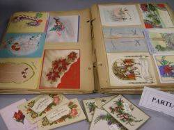 Two Albums of Color Lithograph Scraps Cards and Valentines with a Collection of Color Lithographed Fairy Tale Panels Christmas and