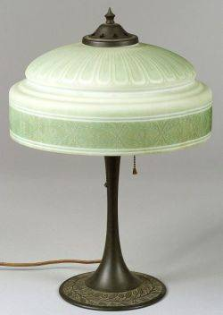 Painted Molded Art Glass and Patinated Cast Metal Table Lamp