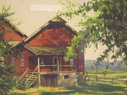 Framed Watercolor View of a Red Barn