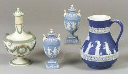 Wedgwood Dark Blue Jasper Dip Jug a Pair of Small Light Blue Jasper Dip Lidded Urns and a Lidded ThreeColor Bottle