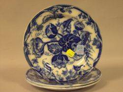 Set of Three Wedgwood Flow Blue Water Nymph Pattern Plates