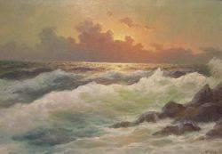 Framed Oil Sunset Ocean View