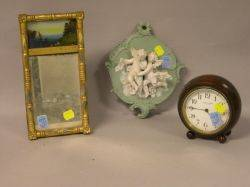 Miniature Giltwood and ReversePainted Split Baluster Mirror Bisque Figural Plaque and a TildenThurber Mahogany Table Clock